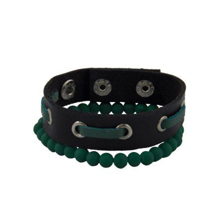 خرید دستبند چرم و مهره ژوست کد 414