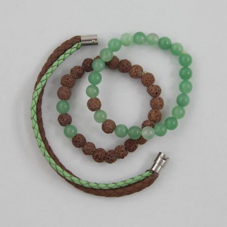 خرید دستبند چرم و مهره ژوست کد 415