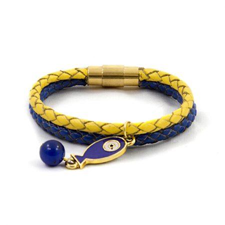 خرید دستبند چرم بافت ژوست مدل ماهی کد 447