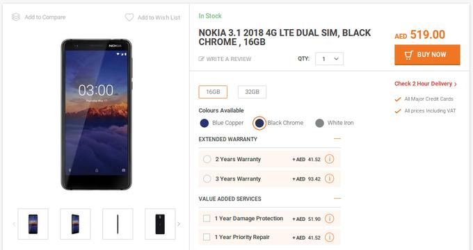 خرید گوشی Nokia 3.1