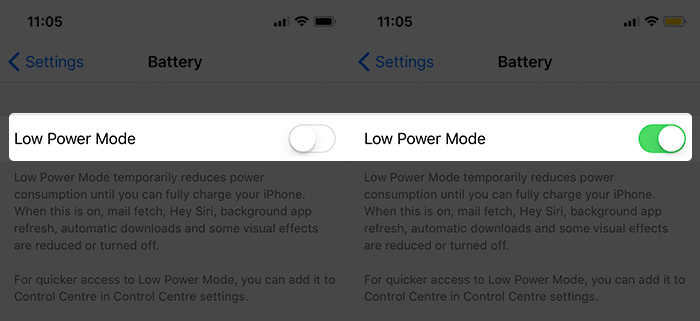 Low Power Mode در آیفون