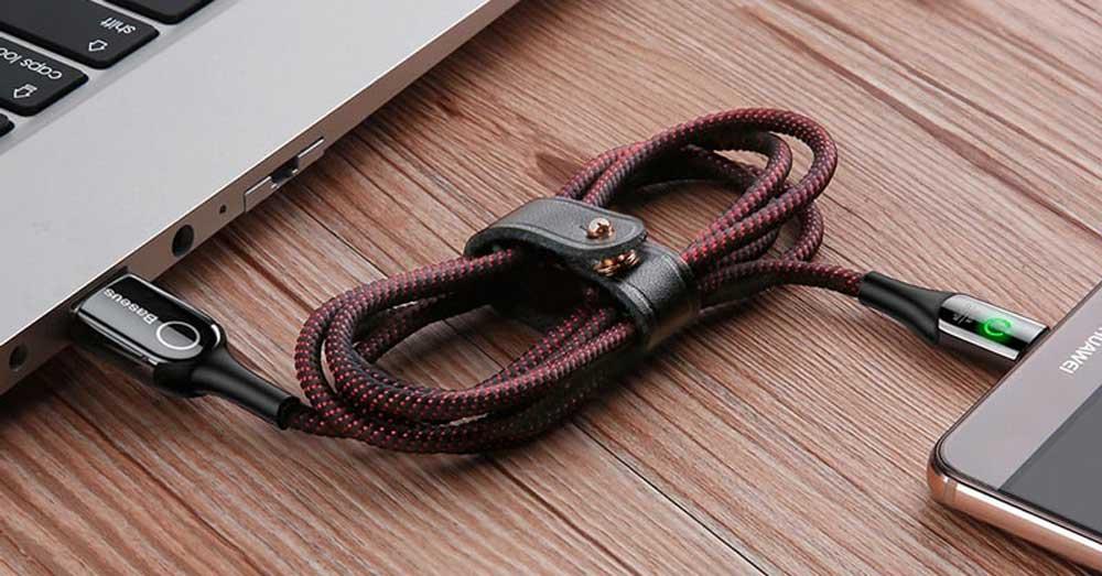 خرید کابل شارژ هوشمند بیسوس Baseus C-shaped light intelligent Type-C cable