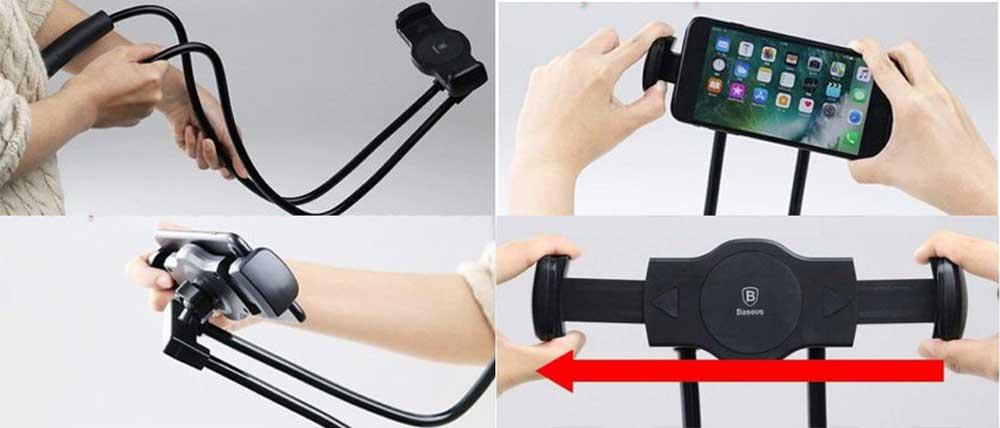 خرید نگهدارنده گوشی و تبلت بیسوس Baseus Neck-Mounted Lazy Bracket