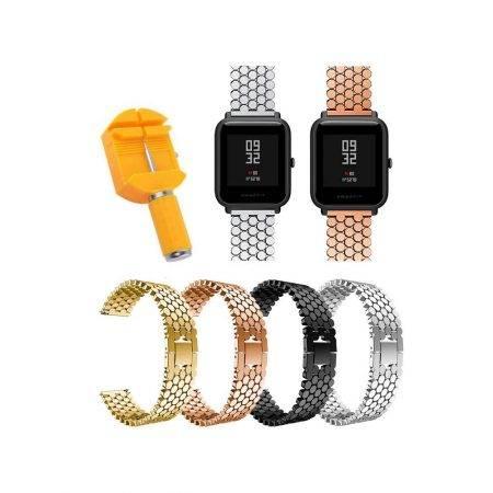 خرید بند استیل ساعت هوشمند شیائومی Amazfit Bip طرح کندویی
