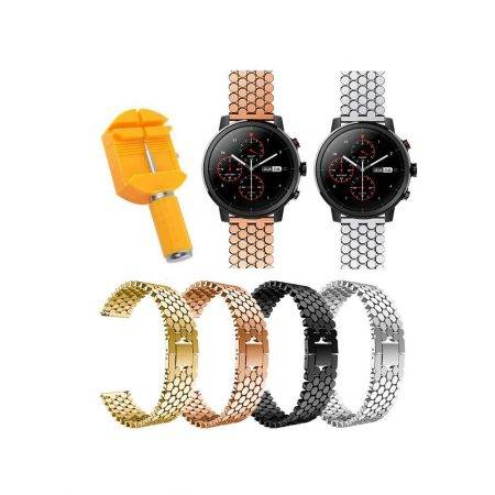 خرید بند استیل ساعت هوشمند شیائومی Amazfit Stratos طرح کندویی