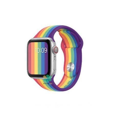 خرید بند سیلیکونی ساعت اپل واچ Apple Watch 38/40mm مدل رنگین کمان