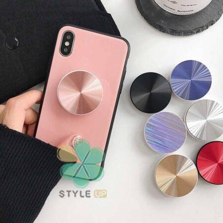 عکس پایه نگهدارنده و پاپ سوکت گوشی موبایل مدل Shiny Metal
