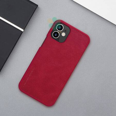 عکس کیف چرمی نیلکین گوشی آیفون Apple iPhone 12 Mini مدل Qin