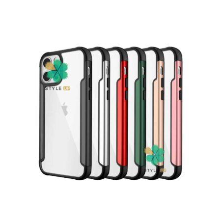 خرید قاب HUANMIN گوشی ایفون Apple iPhone 12 Pro مدل شفاف دور فلزی