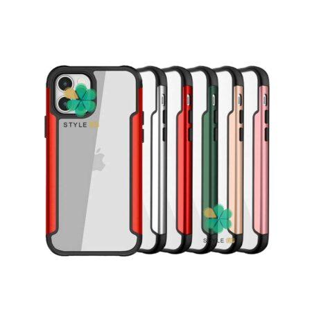 خرید قاب HUANMIN گوشی ایفون iPhone 12 Pro Max مدل شفاف دور فلزی