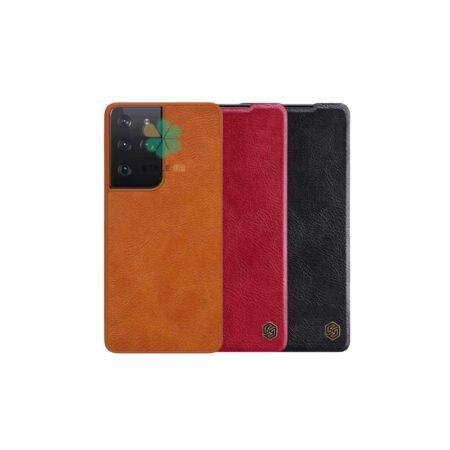 خرید کیف چرمی نیلکین گوشی سامسونگ Samsung Galaxy S21 Ultra مدل Qin