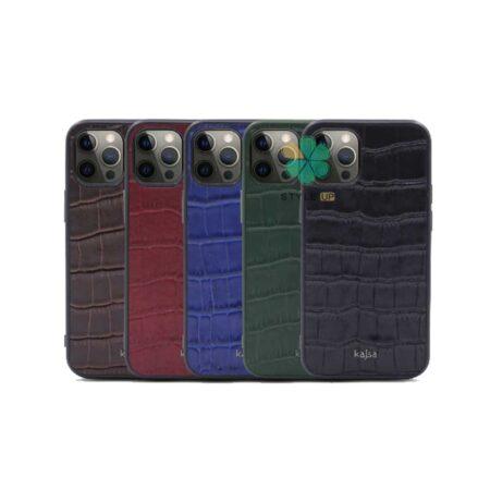 خرید قاب چرم برند Kajsa گوشی iPhone 12 Pro Max طرح Genuine Croco