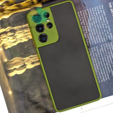 عکس قاب گوشی سامسونگ Galaxy S21 Ultra 5G مدل پشت مات محافظ لنزدار