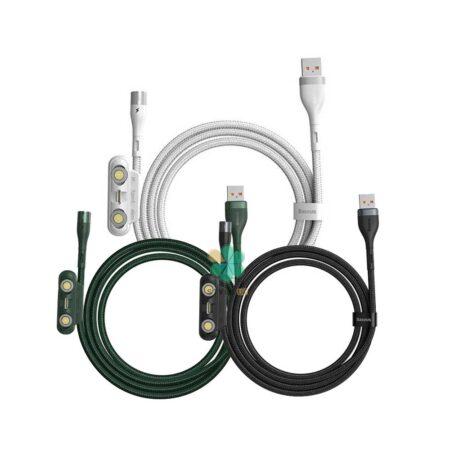 خرید کابل شارژ مگنتی سه کاره تایپ سی، لایتنینگ و میکرو یو اس بی بیسوس Zinc Magnetic CA1T3-AG1