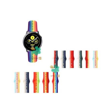 قیمت بند سیلیکونی ساعت سامسونگ Galaxy Watch Active مدل رنگین کمان