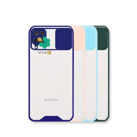خرید کاور گوشی سامسونگ Galaxy A12 Nacho مدل پشت شفاف محافظ لنزدار کشویی