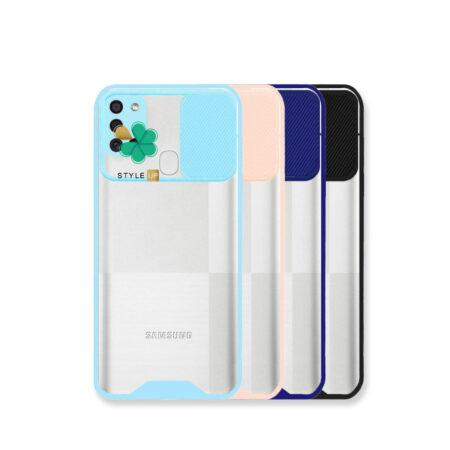 قیمت قاب گوشی سامسونگ Samsung A21s مدل پشت شفاف محافظ لنزدار کشویی