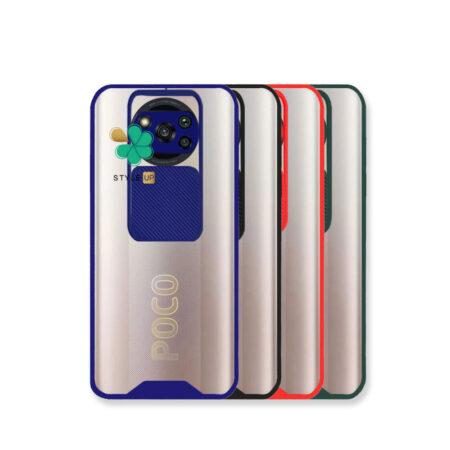 خرید قاب گوشی شیائومی Poco X3 مدل پشت شفاف محافظ لنزدار کشویی