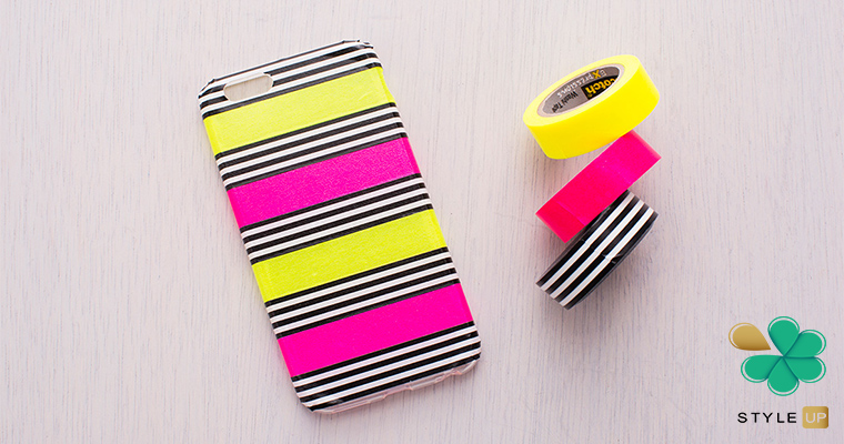 تزئین قاب گوشی با چسبهای نواری رنگی
