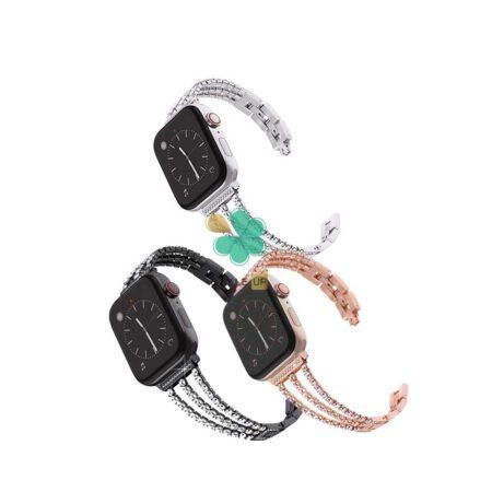 خرید بند استیل ساعت اپل واچ Apple Watch 7 45mm مدل زنجیری نگین دار