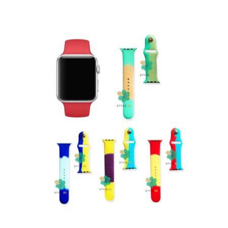 قیمت بند ساعت اپل واچ Apple Watch 7 41mm سیلیکونی طرح آبرنگ